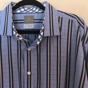 Thomas Dean Blue Striped Dress Shirt Size 3XLT